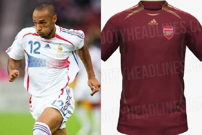 Thierry Henry na Copa de 2006 e a provável camisa do Arsenal no template 'Teamgeist'