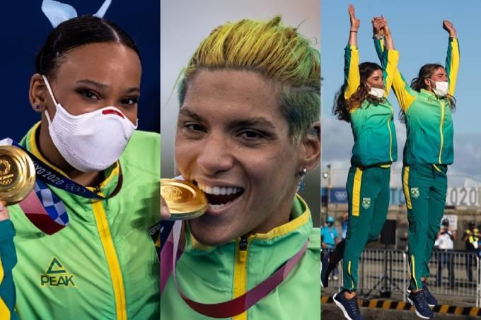 Mulheres douradas: Rebeca. Ana Marcela, Martine e Kahena