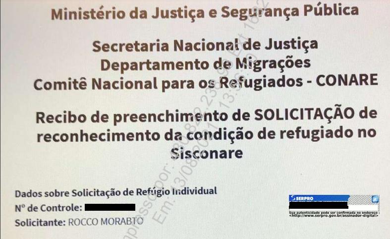 Pedido de refúgio Rocco Morabito