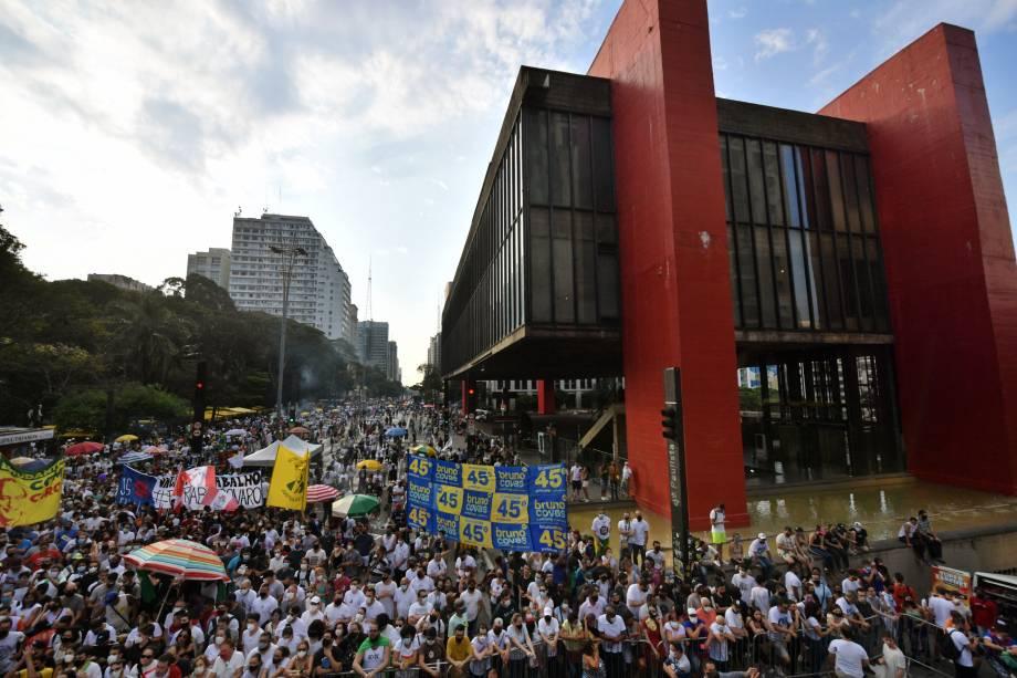 Ato contra o presidente Jair Bolsonaro na Avenida Paulista, em São Paulo -