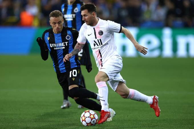 Lionel Messi na partida contra o Club Brugge