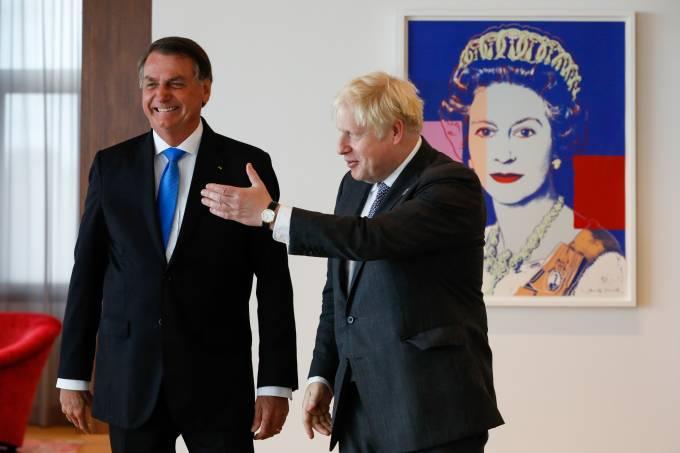 O presidente Jair Bolsonaro e o premiê do Reino Unido, Boris Johnson