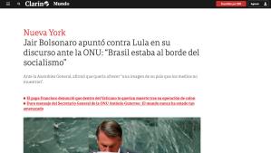 Manchete do jornal argentino Clarín sobre discurso de Bolsonaro.