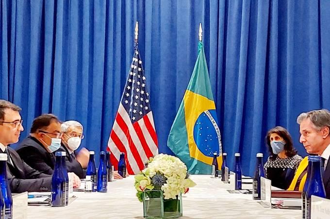 Reunião entre o chanceler brasileiro Carlos Alberto França e o secretário de Estado dos EUA, Antony Bliken, em Nova York, na última terça-feira