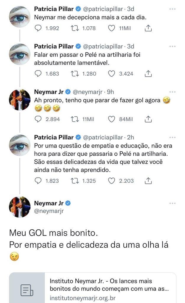 Neymar mencionando o instituto na discussão com Patrícia Pillar -