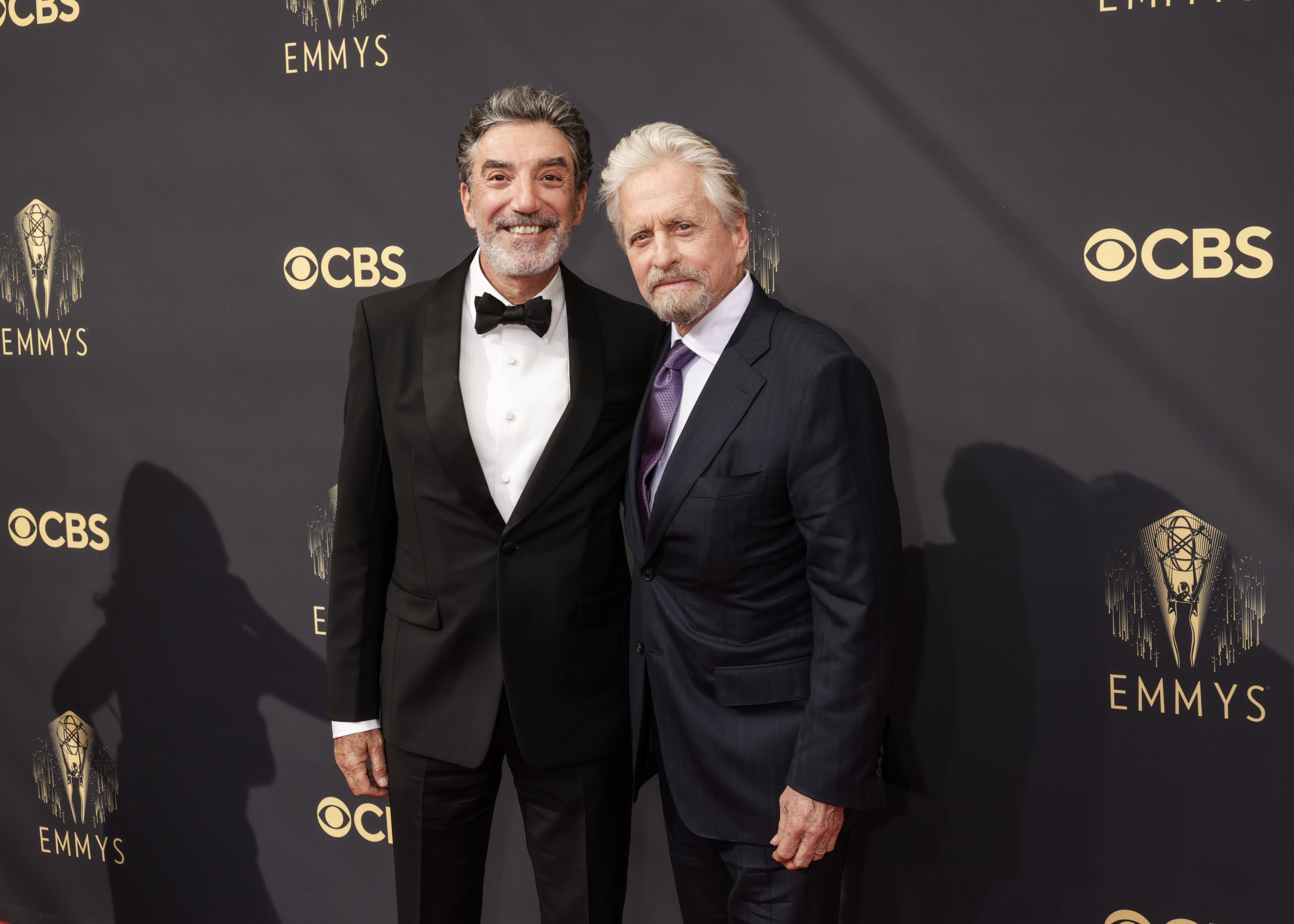 LOS ANGELES - SEPTEMBER 19: Chuck Lorre and Michael Douglas attends the 73RD EMMY AWARDS on Sunday, Sept. 19 (8:00-11:00 PM, live ET/5:00-8:00 PM, live PT) on the CBS Television Network and available to stream live and on demand on Paramount+. (Photo by Francis Specker/CBS via Getty Images)