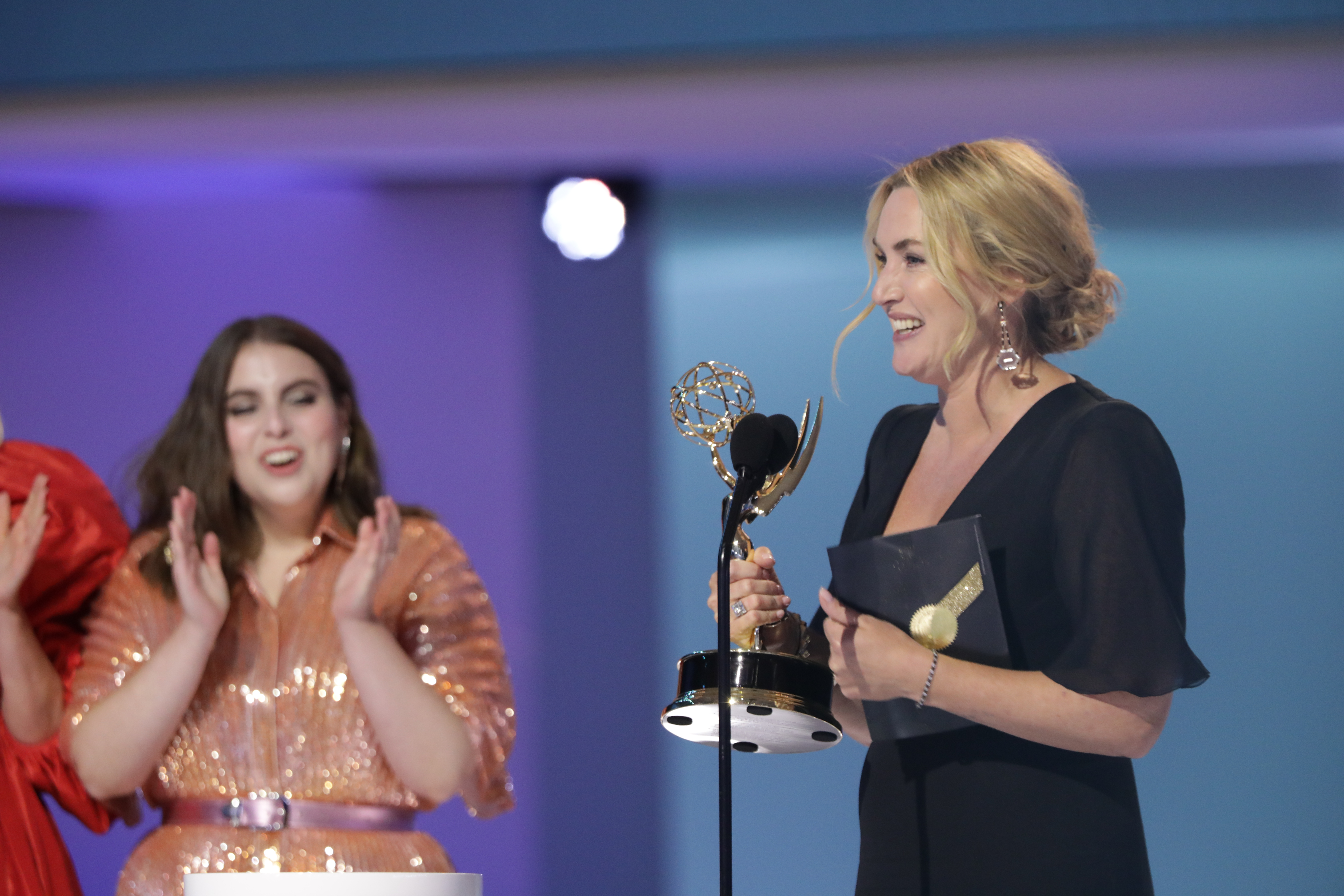 LOS ANGELES - SEPTEMBER 19: Kate Winslet from 'Mare of Easttown' appears at the 73RD EMMY AWARDS, broadcast Sunday, Sept. 19 (8:00-11:00 PM, live ET/5:00-8:00 PM, live PT) on the CBS Television Network and available to stream live and on demand on Paramount+. (Photo by Cliff Lipson/CBS via Getty Images)