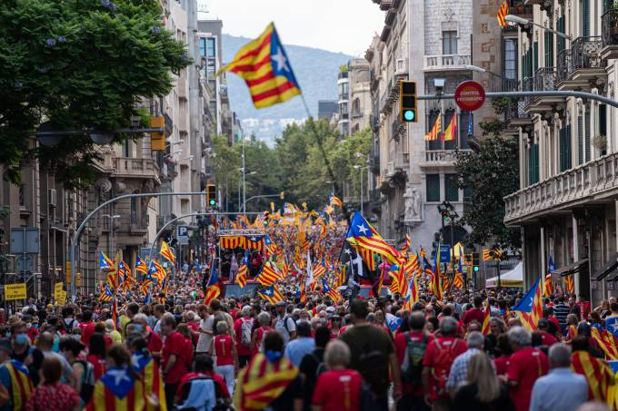 Demonstration In Barcelona Organized By The Anc On The Occasion Of The Diada
