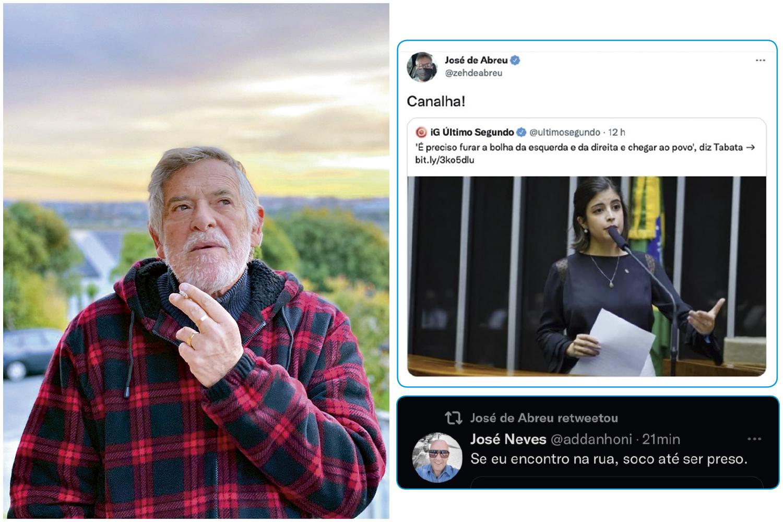 """VALENTÃO -José de Abreu: no Twitter, o ator petista chamou a deputada de """"canalha"""" e reproduziu mensagem com ameaças de agressão -"""