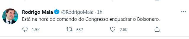 Tuíte do deputado federal Rodrigo Maia