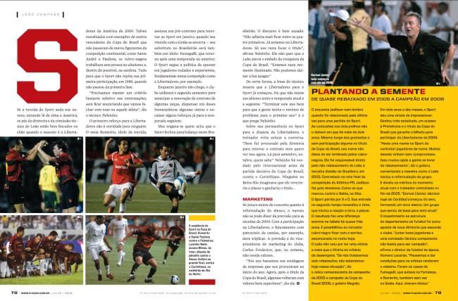 Matéria citou a ascensão do Sport até o título da Copa do Brasil -