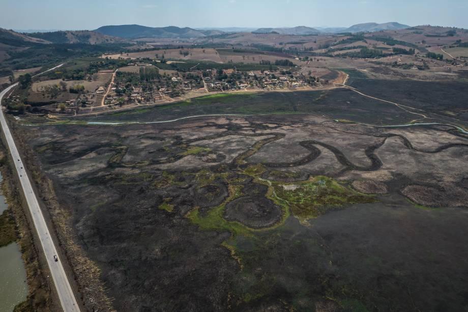 Vista aérea da região de Areado/MG -