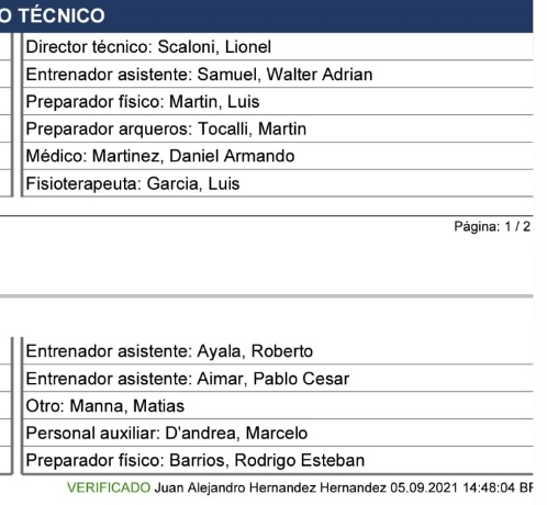 Ficha do jogo não mostra Fernando Batista entre a comissão argentina