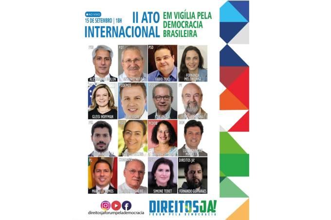 Cartaz do II Ato pelo Dia Internacional da Democracia, promovido pelo Direitos Já!