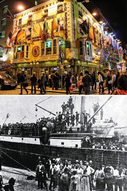INVERSÃO DE FLUXO -Dublin e o Porto de Santos, em 1907: o país que recebia levas de estrangeiros é hoje a nação de onde partem milhões em busca de um futuro melhor em países como a Irlanda -