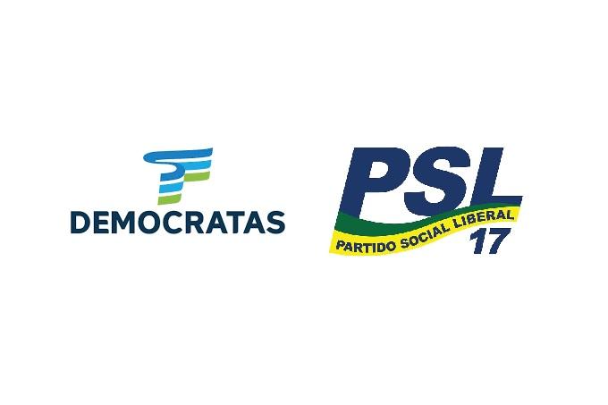 Logomarcas do Democratas e do PSL, que vão se fundir em um só partido
