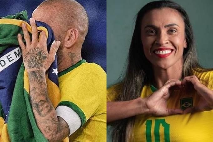Daniel Alves e Marta vestiram a camisa da seleção no 7 de setembro