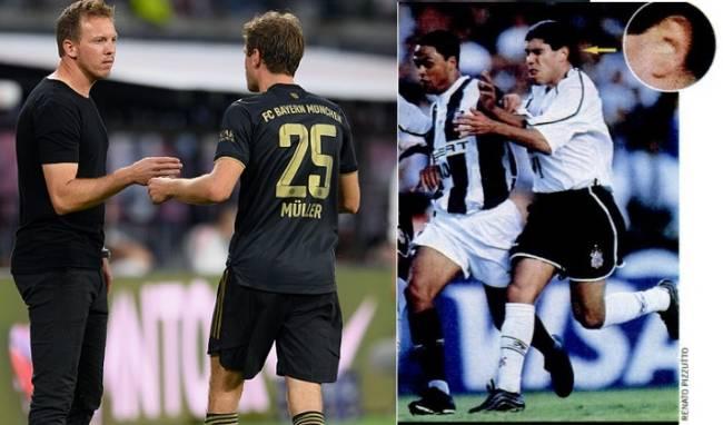 Nagelsmann passa orientações a Müller; ao lado, Ricardinho com ponto eletrônico