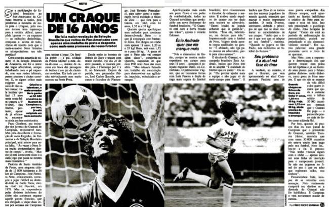 A primeira aparição de Neto em PLACAR em reportagem de Flávio Sormani