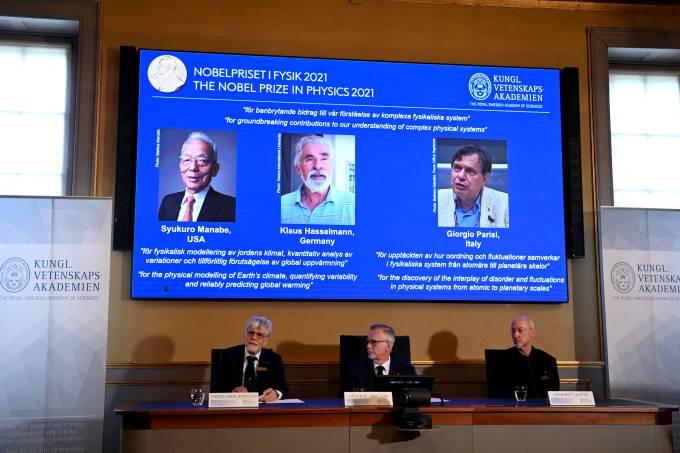 Goran K. Hansson, secretário-geral da Academia divulga os nomes dos vencedores do Nobel de Física