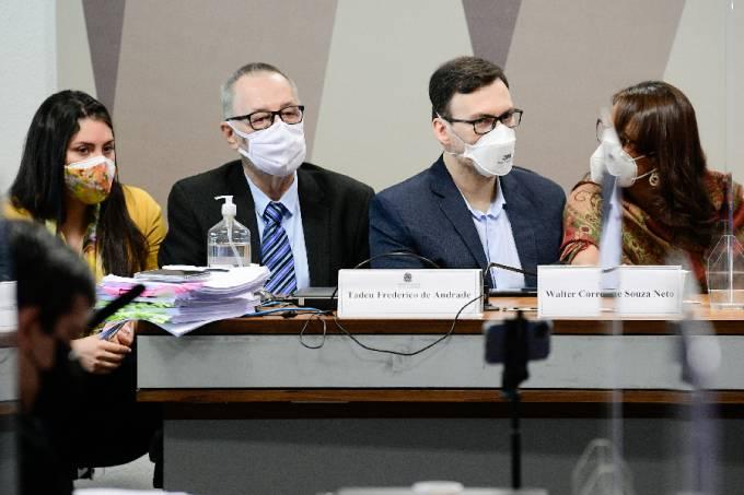 Os depoentes Tadeu Frederico de Andrade e Walter Correa de Souza Neto durante depoimento à CPI da Pandemia – 07/10/2021 –