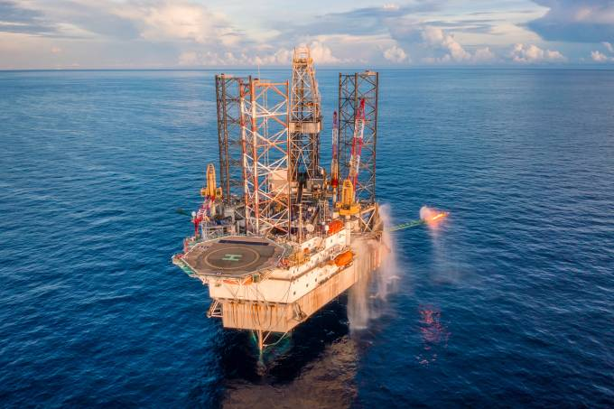 Oil and Gas Exploration Drilling Rig in the middle of Gulf of Thailand, Offshore Malaysia