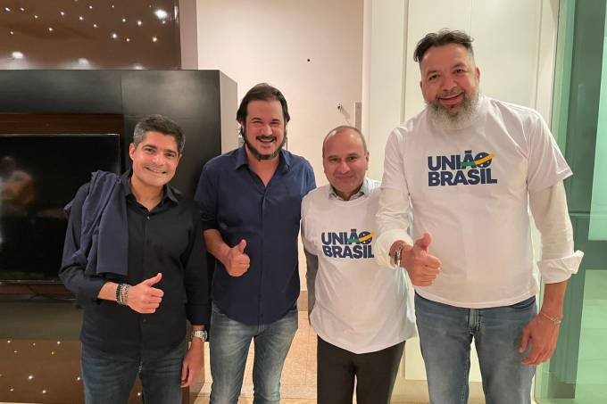 ACM Neto, Antônio Rueda, Waguinho e Canela, do União Brasil, reunidos nesta terça-feira em Brasília