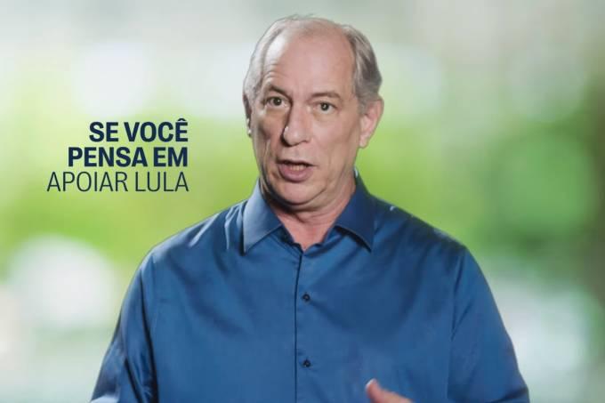 O presidenciável Ciro Gomes, do PDT, em vídeo publicado nesta segunda-feira contra Lula