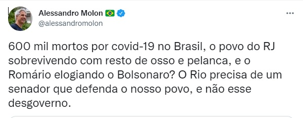 Alessandro Molon critica Romário no Twitter